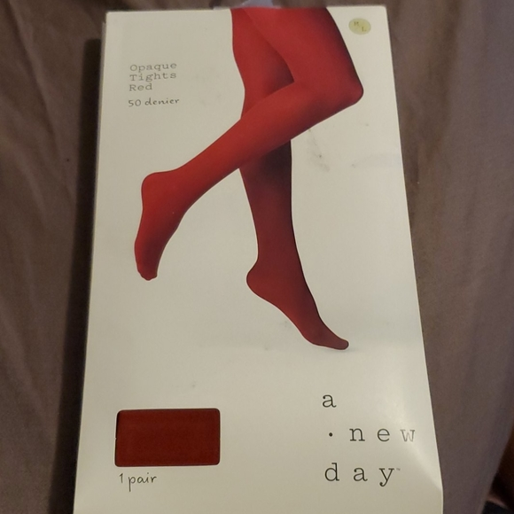 a new day Accessories - A New Day Opaque Tights Womens Size M / L Red